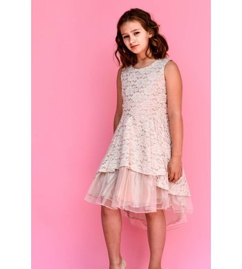 Bonnie Jean dress lace Hi-low pink