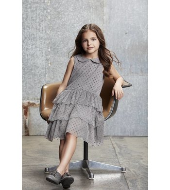 Creamie Dress Mesh Dot  Steeple Gray