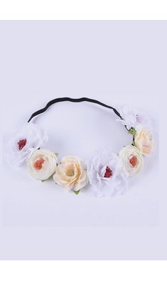 Party bloemenkrans offwhite/white