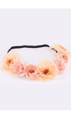 Party bloemenkrans peach