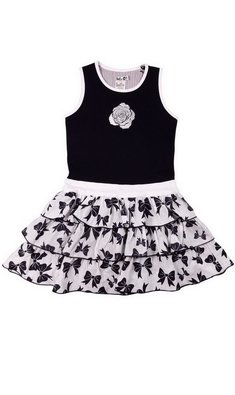 LoFff Ruffled skirt dress Dark Blue - White