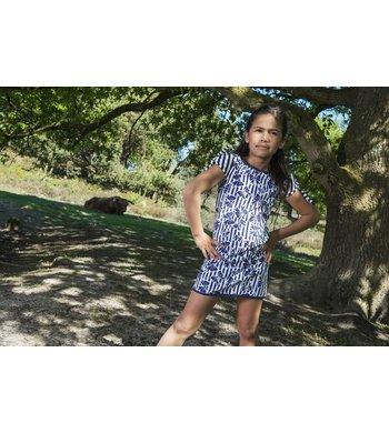 LoFff Knotted sleeve dress Dark Blue - White