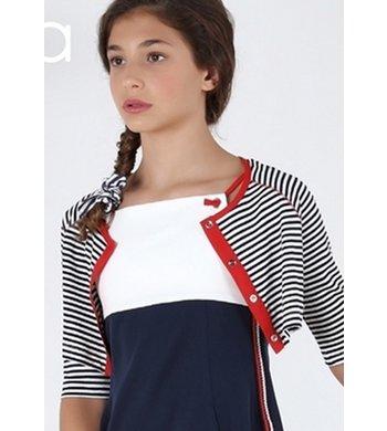 Amaya bolero strips marino/white/red