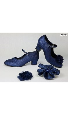 Amézing Shoes heels navy blue glitter
