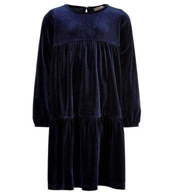 Creamie Dress velvet dark blue
