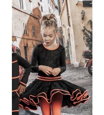 LoFff jurk Dancing dress heart net Dark Grey - Bright Peach