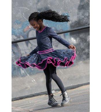 LoFff Jurk Dancing dress heart net Dark Blue - Fuchsia