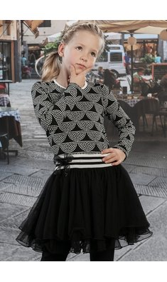 LoFff Dancing dress dots Black - Off white - Caffè