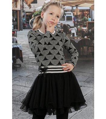 LoFff Jurk Dancing dress dots Black - Off white - Caffè