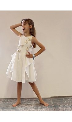 Kate Mack/Biscotti party dress gold beige