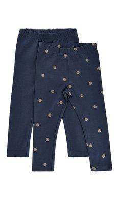 Me Too donkerblauwe legging blue met gouden stip