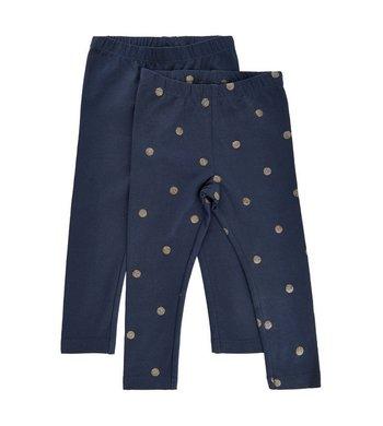 Me Too Leggings Dark Sapphire Blue gold dots
