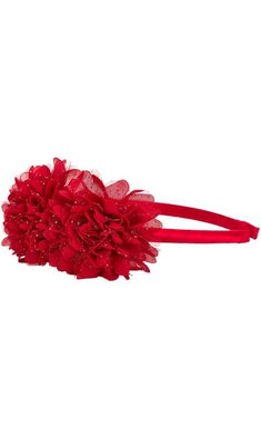Creamie hairband glitter flower crimson red
