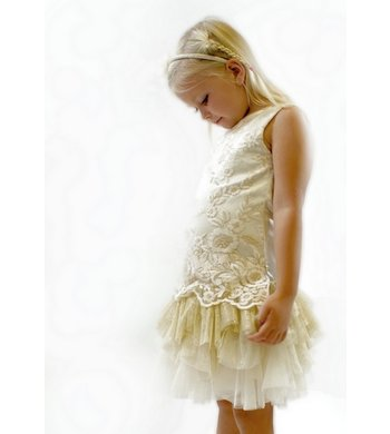 Kate Mack/Biscotti party dress gold beige