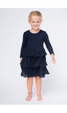 Happy Girls party dress layerd skirt blue