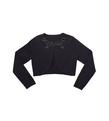 Bonnie Jean cardigan daisy and ribbon black