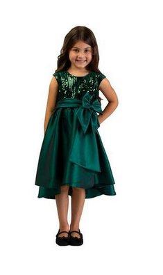 Bonnie Jean dress sequin Hi-Low green