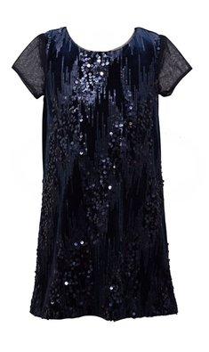 Bonnie Jean jurkje pailletten blauw