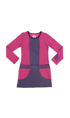 LoFff samples Graphic dress dark blue- fuchsia