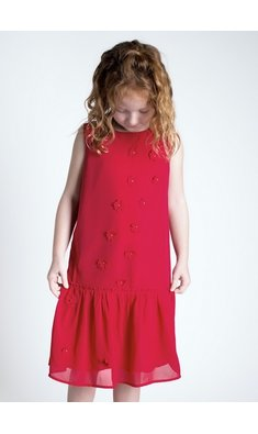 Creamie dress chiffon flowers crimson red