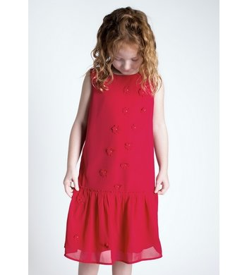 Creamie dress chiffon flowers crimson red