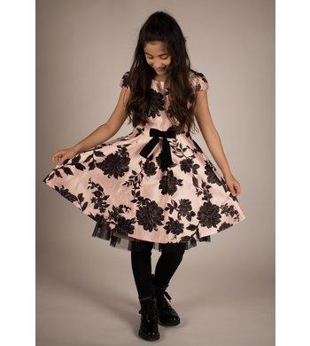 Bonnie Jean dress flocked aline pink