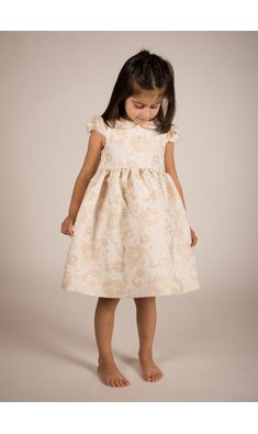 Bonnie Jean dress brocade peter pan gold