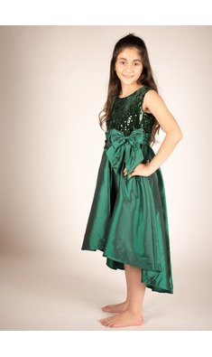 Bonnie Jean dress sequin Hi-Low green