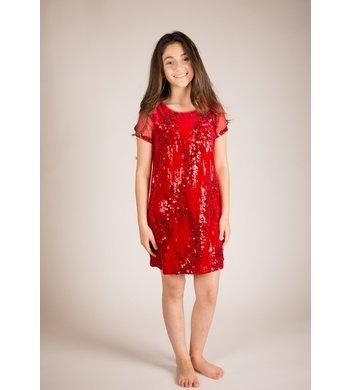 Bonnie Jean jurkje pailletten rood