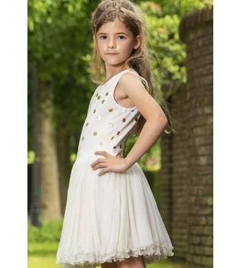 LoFff Dancing dress Off white - gold dots