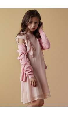 Creamie dress chiffon rose smoke pink