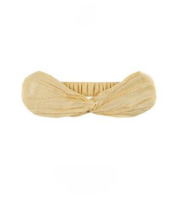 Creamie haarband zilverstreepje rattan geel