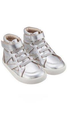 Old Soles leren hoge sneaker zilver