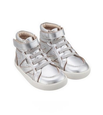 Old Soles leather high sneaker silver