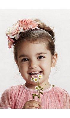 Creamie diadeem met bloemen pink