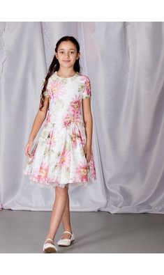 Gymp dress flowers offwhite/pink