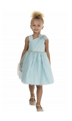 Bonnie Jean sparkle mesh party dress light blue