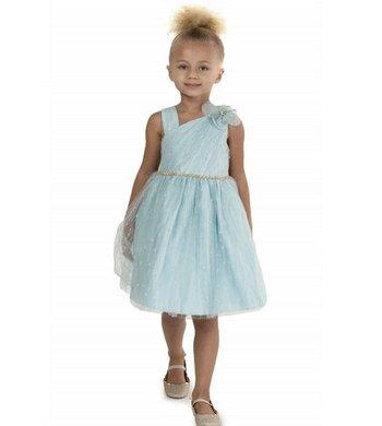 Bonnie Jean sparkle mesh party dress light blue