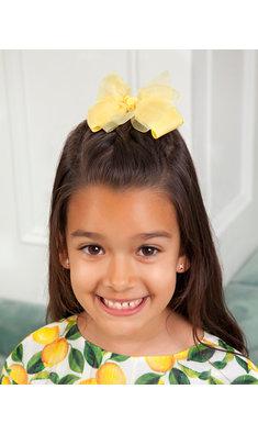Abel & Lula haarspeld met dubbele strik geel