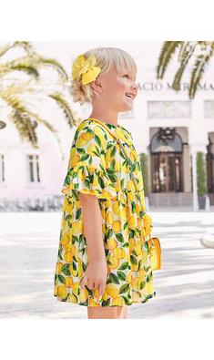 Abel & Lula chiffon dress ditroenen offwhite geel