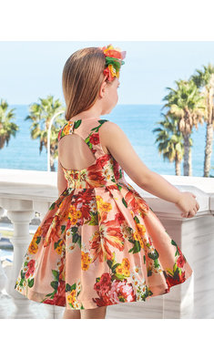 Abel & Lula floral patterned dress peach