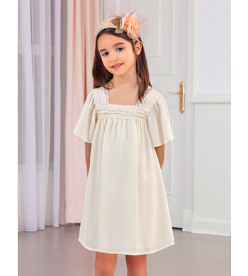 Abel & Lula crepe dress ecru
