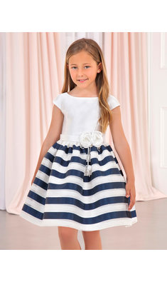 Abel & Lula striped dress navy