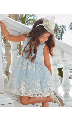 Abel & Lula organza dress lichtblauw