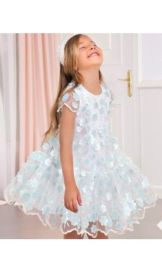 Abel & Lula dress offwhite blue flower3