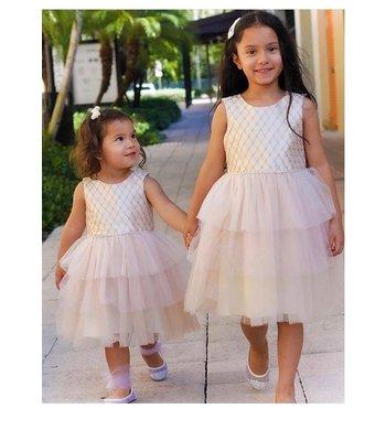 Bonnie Jean Elize jurk met tule rok pink