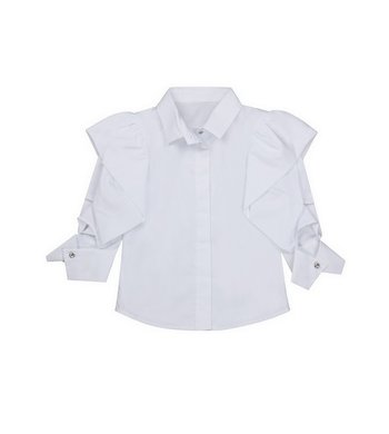 Lapin House top with ruffle sleeves white