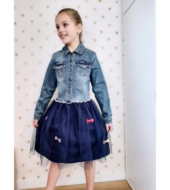 Billlieblush jeans dress with blue tulle skirt