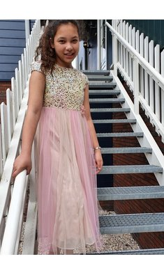 Bonnie Jean Liza sequin midi dress pink