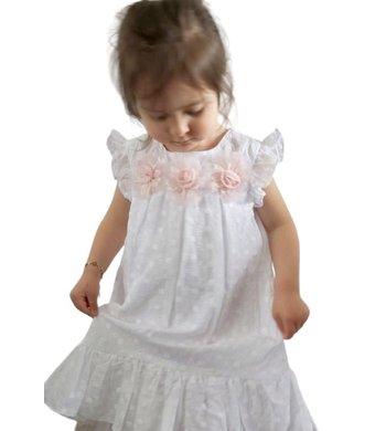 Bonnie Jean A-lijn broderie jurkje wit